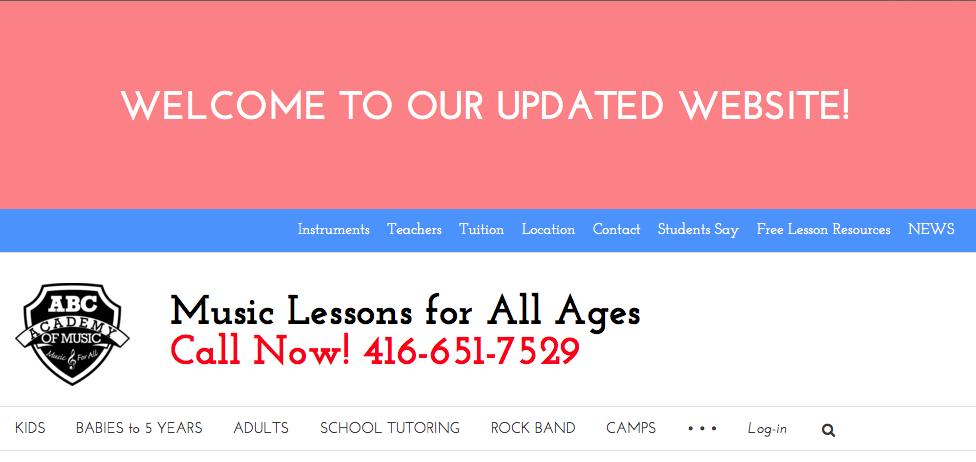 screenshot of updated website