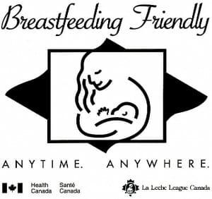 Woman breastfeeding child logo