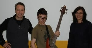 Toronto Electric Bass student Owen Pearson with parents Ian Pearson & Kat Spiwak