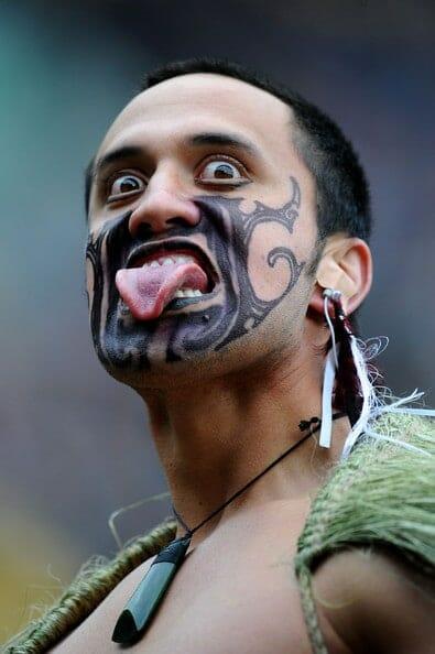 Maori Warrior Sticking Tongue out