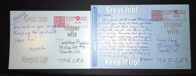 Old and new Student of the week postcards